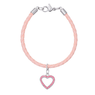 Pink Leather Bracelet - Pink Heart