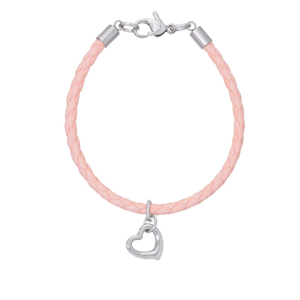 Pink Leather Bracelet - Open Heart