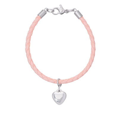 Pink Leather Bracelet - Heart