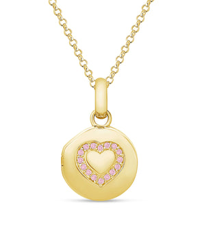 Pink CZ Heart Locket in 18K Gold over Sterling Silver