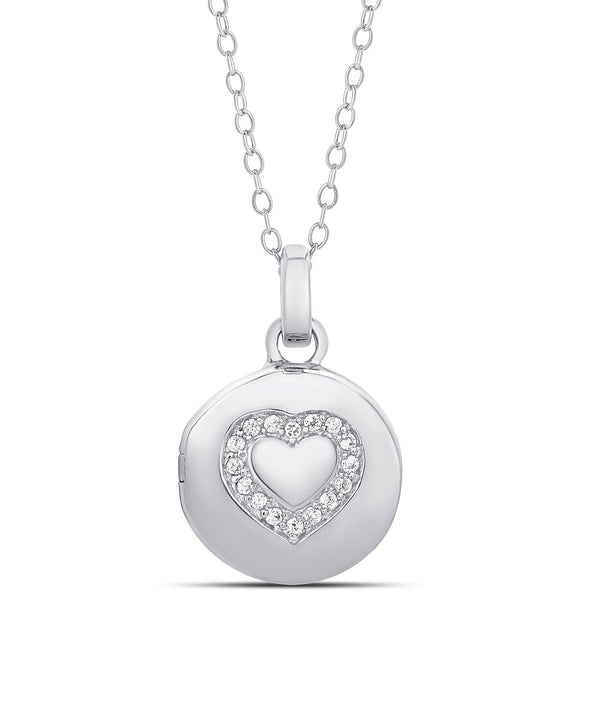 CZ Heart Locket in Sterling Silver