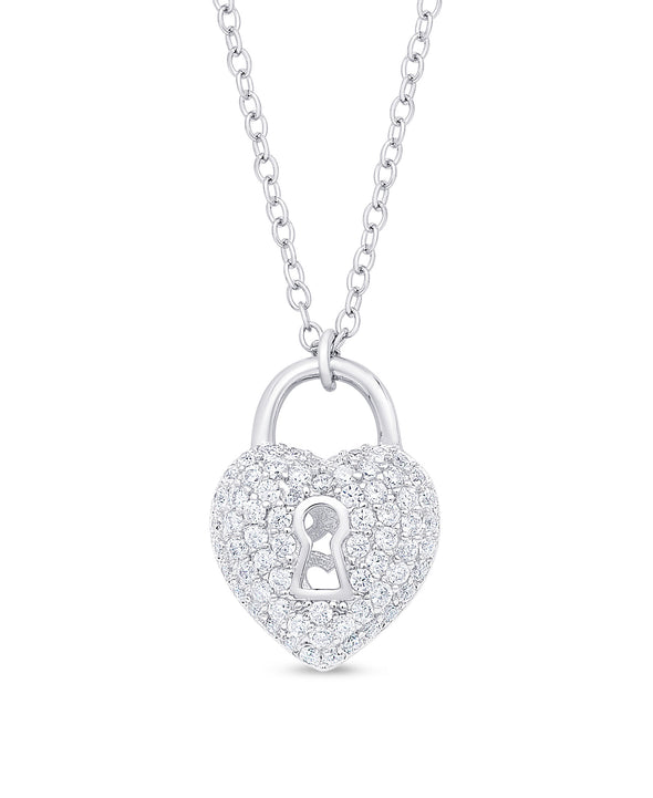 CZ Heart Lock Pendant in Sterling Silver