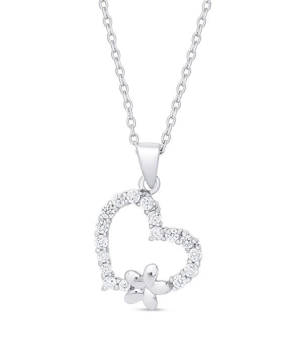 CZ Heart and Flower Pendant in Sterling Silver