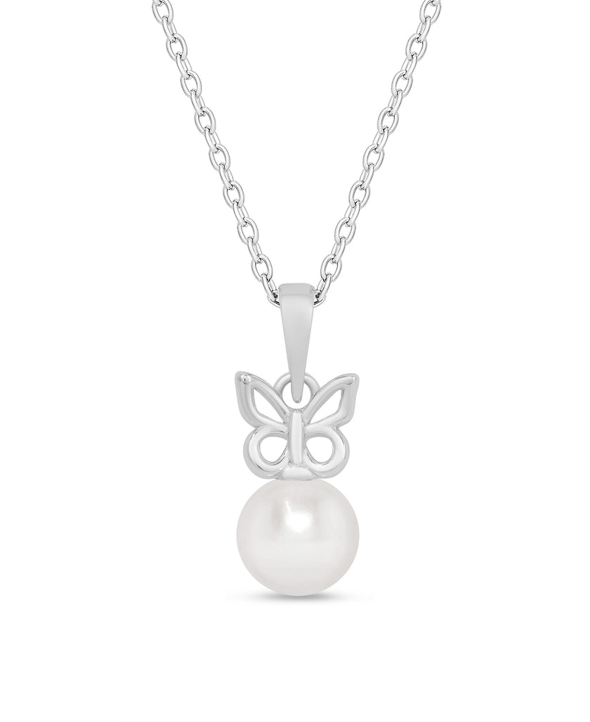 Butterfly & Freshwater Pearl Pendant in Sterling Silver-1