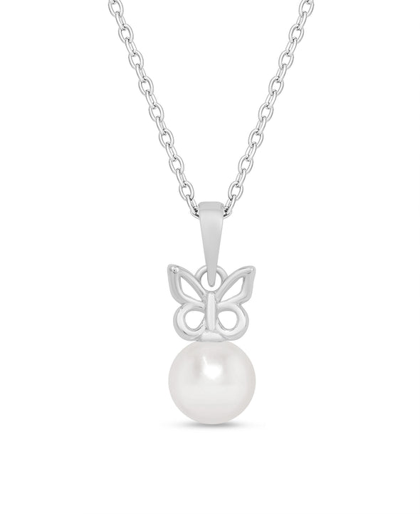 Butterfly & Freshwater Pearl Pendant in Sterling Silver