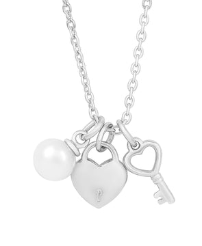 Heart Lock & Key, Freshwater Pearl Charm Necklace in Sterling Silver