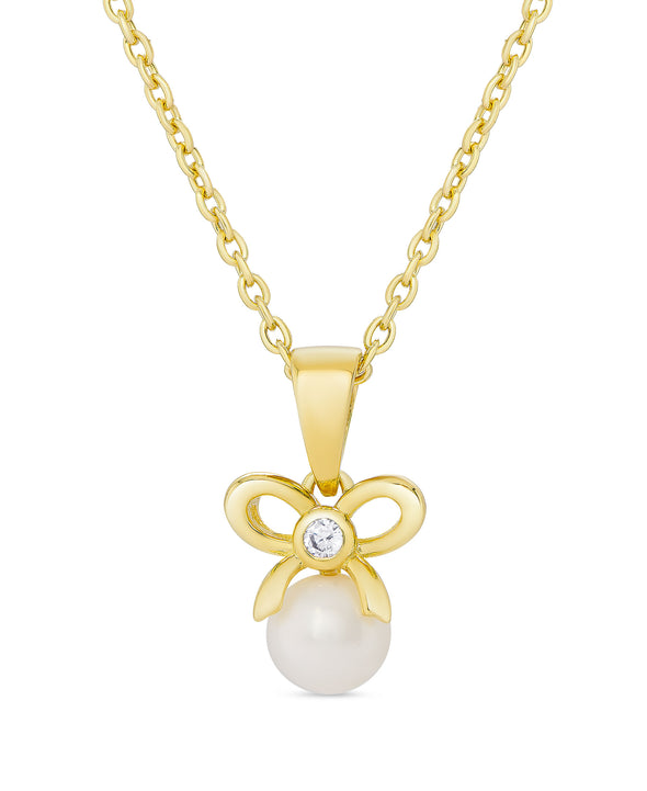 CZ Bow and Freshwater Pearl Pendant in Sterling Silver