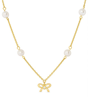 CZ Bow and Freshwater Pearl Station Necklace in Sterling Silver