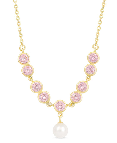 Pink CZ and Freshwater Pearl Necklace in Sterling Silver
