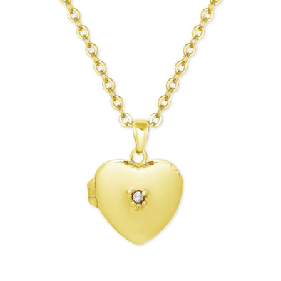 Heart Locket with CZ in 18k Gold over Sterling Silver