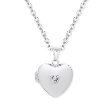 Heart Locket with CZ in Sterling Silver