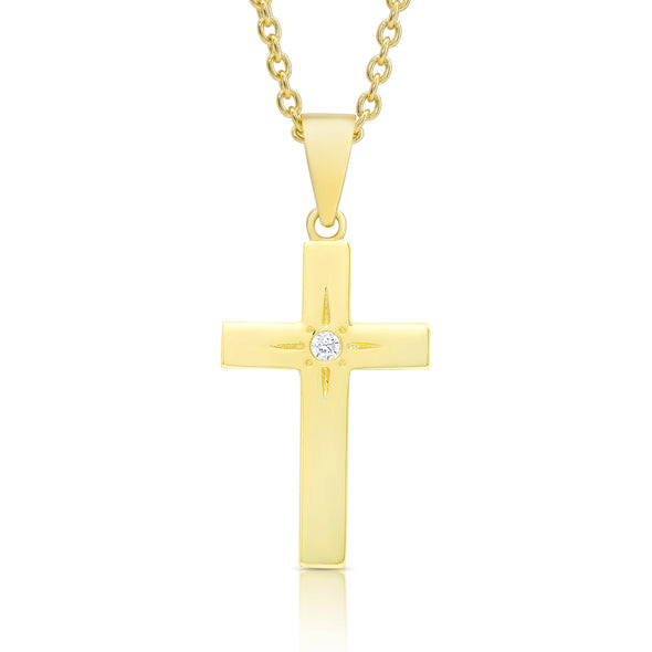 Cross Necklace with CZ in 18k Gold over Sterling Silver
