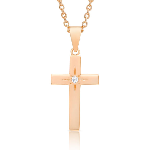 Cross Necklace with CZ in Rose Gold over Sterling Silver