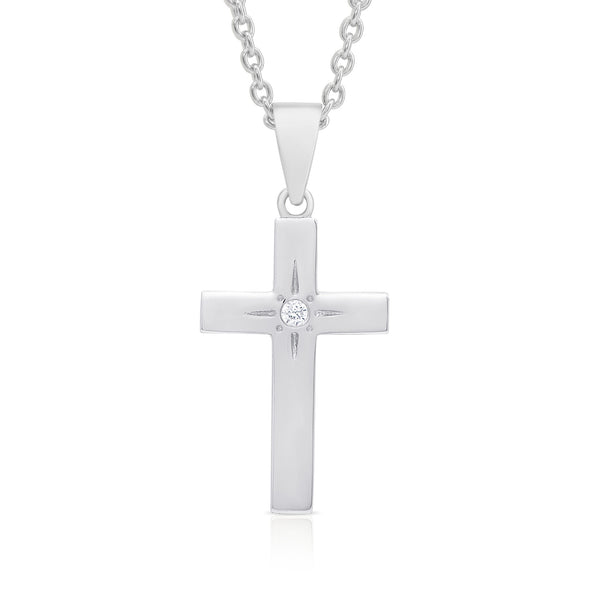 Cross Necklace with CZ in Sterling Silver