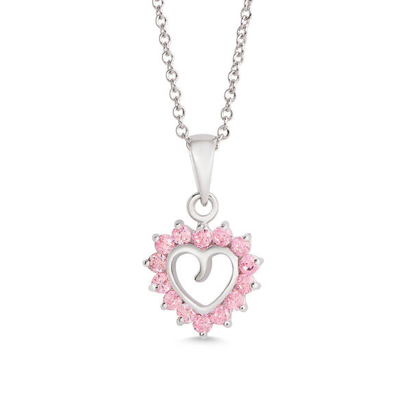 Open Heart Pink CZ Pendant in Sterling Silver