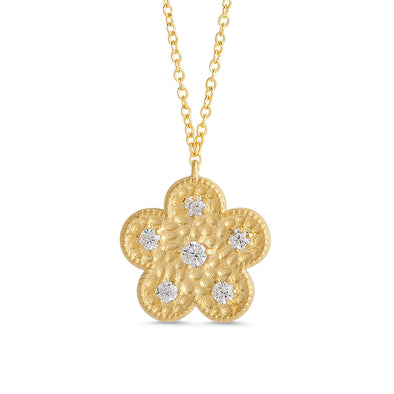 Hammered Flower CZ Pendant in 18k Gold over Sterling Silver
