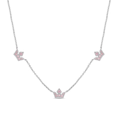 Princess Tiara CZ Station Necklace in Sterling Silver