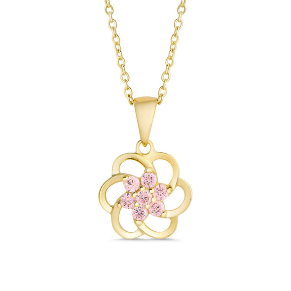 Pink CZ Flower Necklace in 18k Gold over Sterling Silver