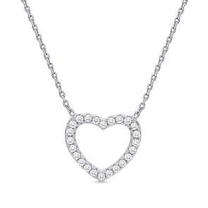 Open Heart CZ Necklace in Sterling Silver