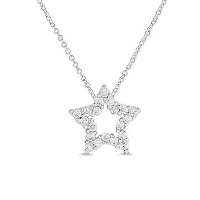 Open Star CZ Necklace in Sterling Silver