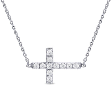 Sideways Cross CZ Necklace in Sterling Silver