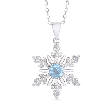 Blue Topaz and CZ Snowflake Necklace