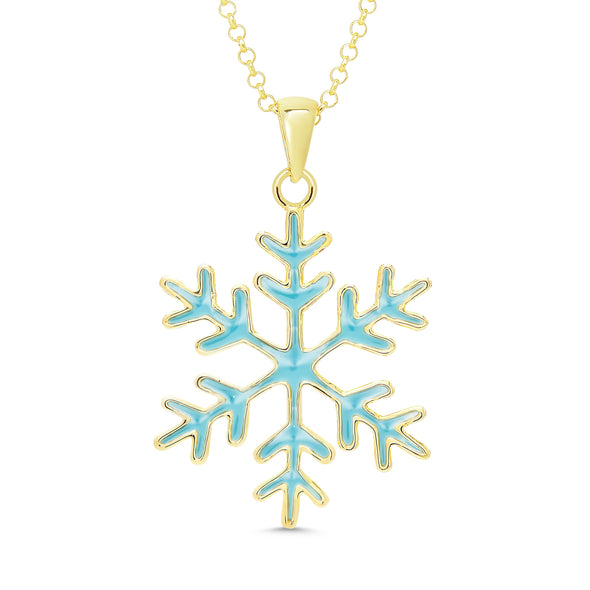 Snowflake Necklace in 18k Gold over Sterling Silver (Blue)