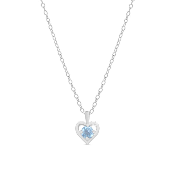 Blue CZ Heart Pendant in Sterling Silver