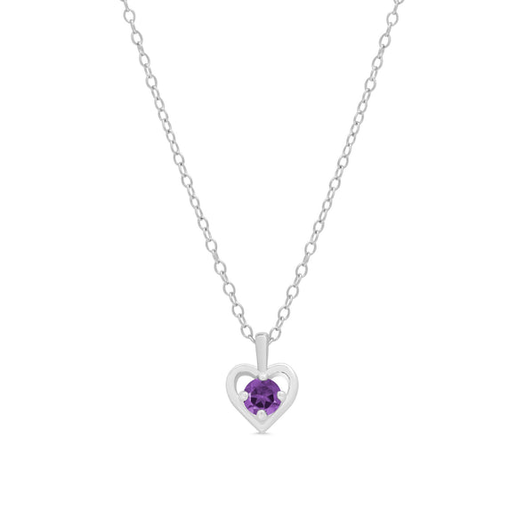 Purple CZ Heart Pendant in Sterling Silver
