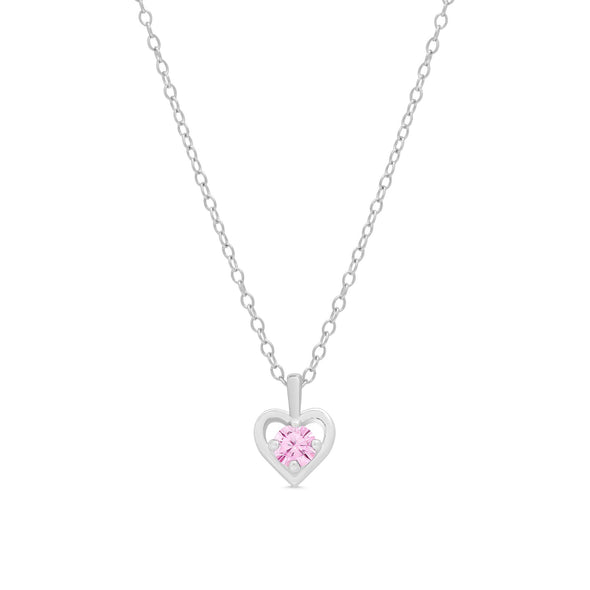 Pink CZ Heart Pendant in Sterling Silver