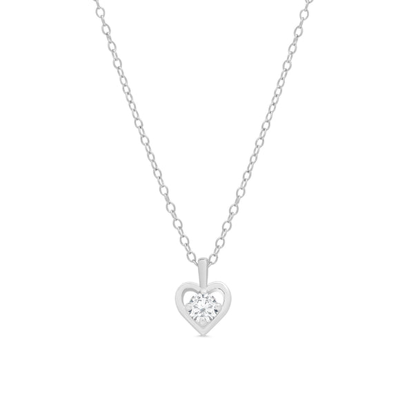 CZ Heart Pendant in Sterling Silver