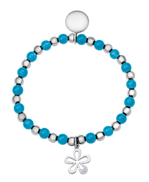 Bead & Silver Ball Stretch Bracelet in Sterling Silver (Turquoise)