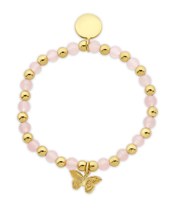 Bead & Gold Ball Stretch Bracelet in 18K Gold over Sterling Silver (Pink Jade)