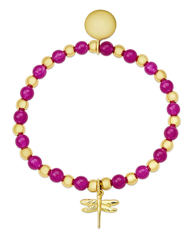 Bead & Gold Ball Stretch Bracelet in Gold over SS (Pink Fuchsia)