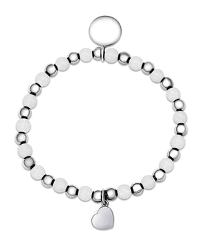 Bead & Silver Ball Stretch Bracelet in Sterling Silver (White Quartz)