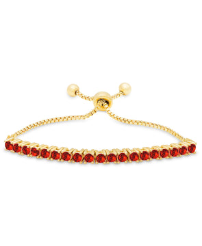 Red CZ Bolo Bracelet in 18K Gold over Sterling Silver