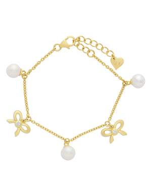 Freshwater Pearl and Bow Charm Bracelet in Sterling Silver