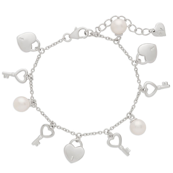 Heart Lock and Freshwater Pearls Charm Bracelet in Sterling Silver