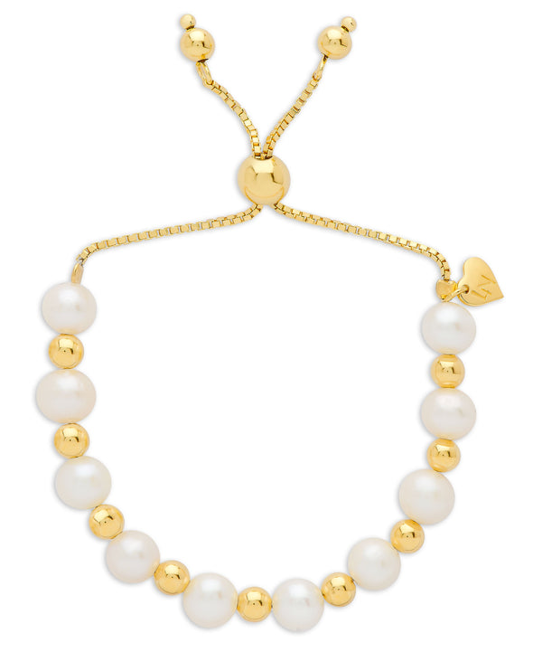 Freshwater Pearl & Gold Ball Bolo Bracelet in Sterling Silver