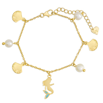 Mermaid and Freshwater Pearl Charm Bracelet in 18k Gold over Sterling Silver