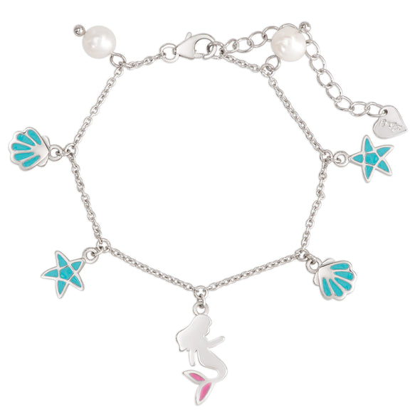 Mermaid and Freshwater Pearl Charm Bracelet in Sterling Silver