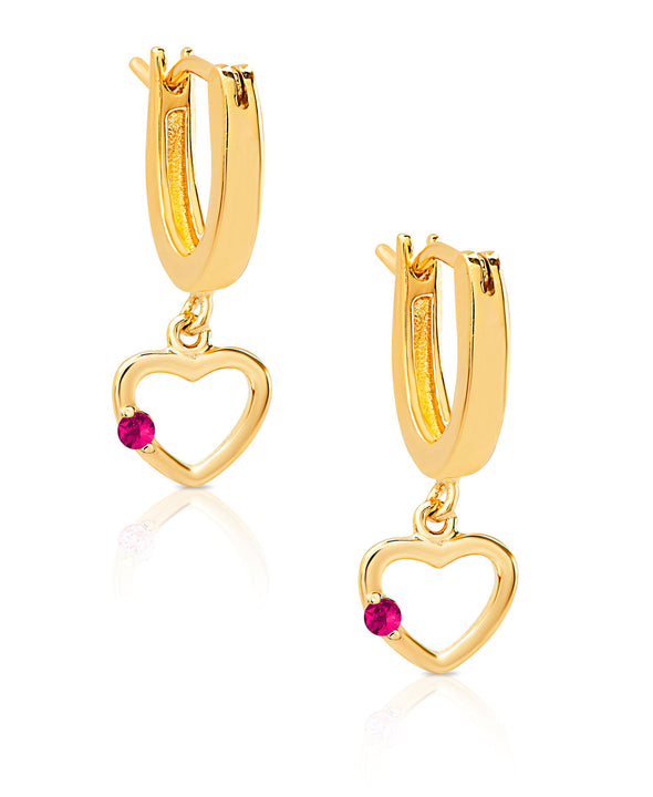 Open Heart Dangle Earrings in 18K Gold over Sterling Silver