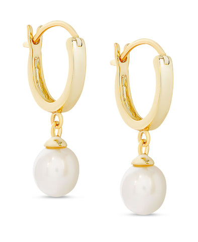 Freshwater Pearl Dangle Hoop Earrings in 18k Gold over Sterling Silver