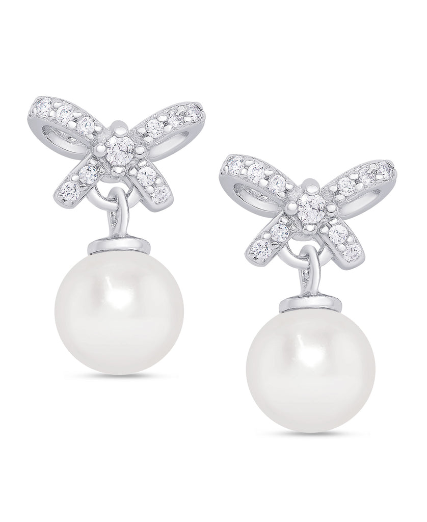 CZ Bow Freshwater Pearl Earrings in Sterling Silver-1