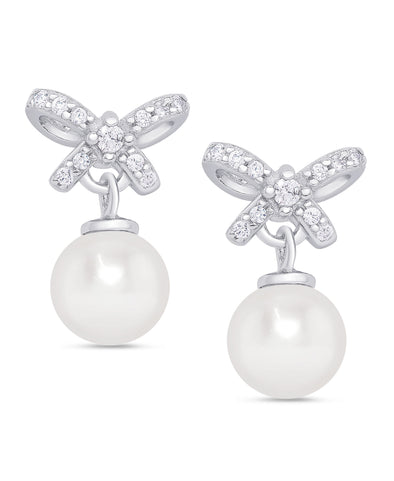 CZ Bow Freshwater Pearl Earrings in Sterling Silver