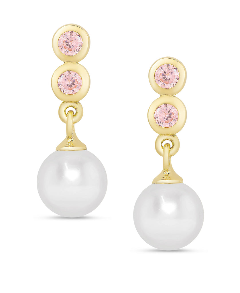 Freshwater Pearl & Pink CZ Drop Earrings in Sterling Silver-1