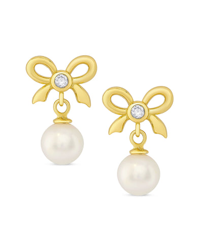 CZ Bow and Freshwater Pearl Earrings in Sterling Silver