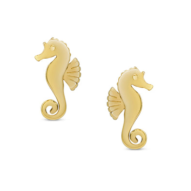 Seahorse Stud Earrings in 18k Gold over Sterling Silver