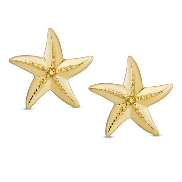 Starfish Stud Earrings in 18k Gold over Sterling Silver