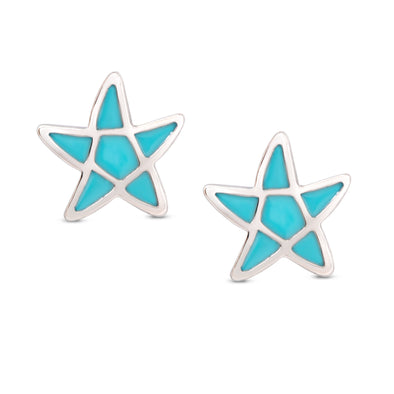 Starfish Stud Earrings in Sterling Silver